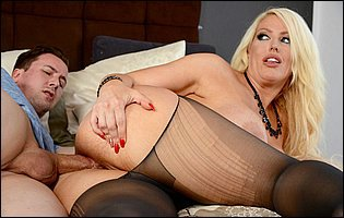 Alura Jenson in black pantyhose getting her tight asshole fucked