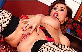 Kianna Dior in sexy fishnet stockings and black high heels likes teasing