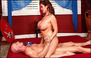 Busty masseuse Kianna Dior sucking and fucking a big hard cock