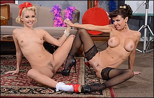 Gorgeous ladies Aaliyah Love and Veronica Avluv stripping and teasing