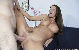 Hot brunette Tabitha Stevens sucking her lover's cock before fucking