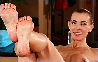 Sporty girl Tanya Tate exposing her tight body and nice feet