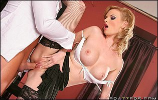 Tarra White in black stockings and high heels has hot sex in the office