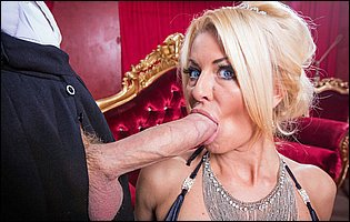Classy bitch Tia Layne in black stockings fucking a huge cock and takes cum on her tits
