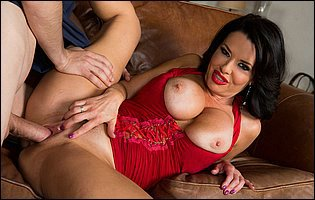 Veronica Avluv in sexy red lingerie fucking her young neighbor