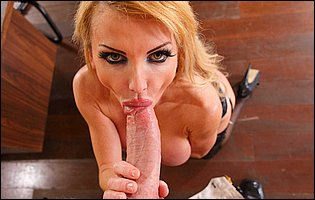 Taylor Wane in black stockings and high heels spreads legs to take a big hard cock