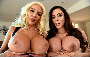 Busty MILFs Ariella Ferrera and Nicolette Shea teasing with hot bodies