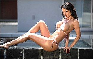 Hot bikini girl Franceska Jaimes exposing tight athletic body at the poolside