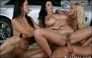 Three hot MILFs Carmella Bing, Gianna Michaels and Shyla Stylez fucking a lucky guy