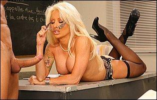 Naughty teacher Helly Mae Hellfire seducing a student