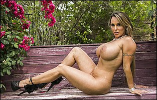 Holly Halston in sexy underwear and high heels teasing with amazing body outdoor