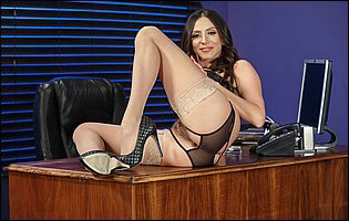 Ariella Ferrera in sexy underwear, nylons and heels likes teasing in the office