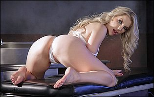 Hot blonde Ashley Fires takes off her sexy white bra and panties