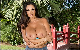 Busty sporty girl Ava Addams stripping and teasing with hot body outdoor