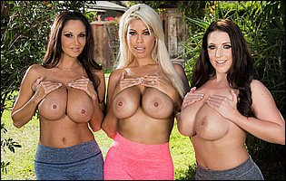 Three busty sporty girls Ava Addams, Angela White and Bridgette B exposing hot bodies outdoor