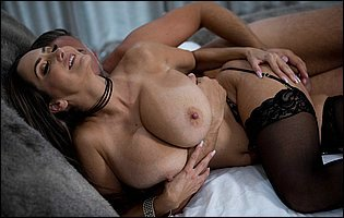 Ava Addams in black stockings gets her pussy filled with big hard cock