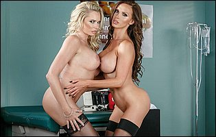 Hot doctors Briana Banks and Nikki Benz teasing with hot bodies in the office