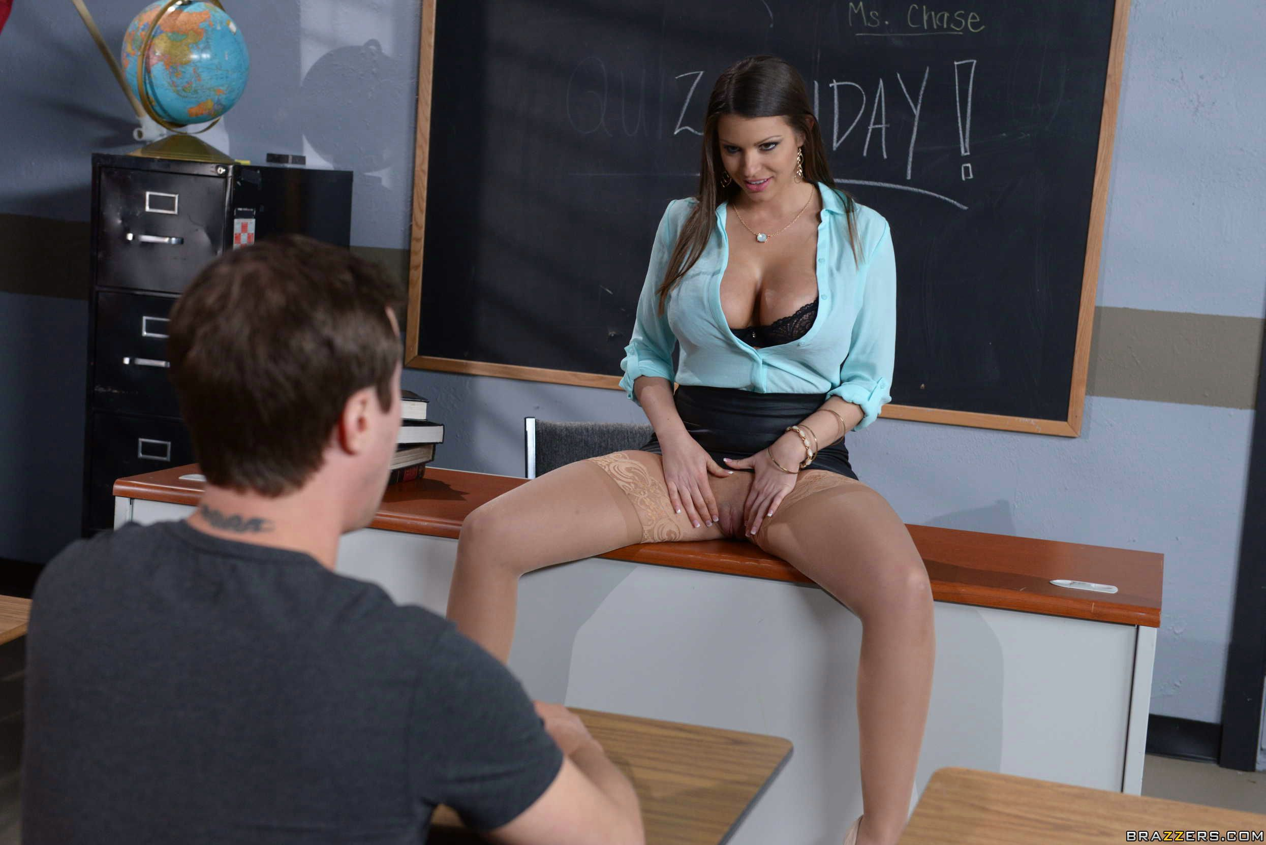 Amazing Blonde Teacher In A Mini Skirt Likes To Have Sex With Her Handsome Student