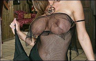 Nikki Benz strips off her sexy black body stockings