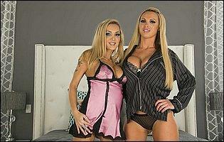Gorgeous blondes Devon and Nikki Benz teasing with hot bodies