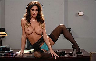 Gorgeous judge Jessica Jaymes stripping and teasing with hot body on the desk